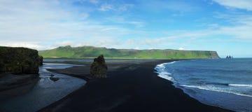Dyrholaey cape, sand beach. Dyrholaey cape, black sand beach, South Iceland royalty free stock photography