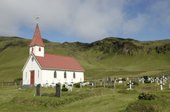 Dyrholaey churh and cemetery, Iceland. Royalty Free Stock Image
