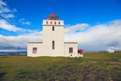 Dyrholaey fyr i Island Fotografering för Bildbyråer