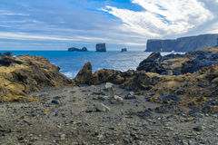 Dyrholaey, a headland in south Iceland. Landscape in Dyrholaey, a headland near the village Vik, in south Iceland stock image