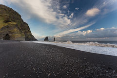 Dyrholaey, Iceland. Black beach Royalty Free Stock Images