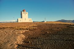 The Dyrholaey lighthouse. In Iceland stock images