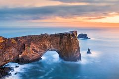 Free Dyrholaey Rock Formation At Sunset Stock Images - 110775244