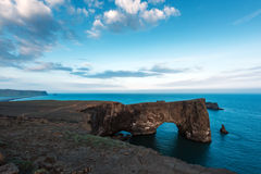 Dyrholaey. Unique basalt arch on Dyrholaey Nature Reserve, Iceland stock photography