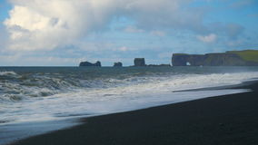 Dyrholaey, volcanic beach on the south coast of Iceland. stock footage