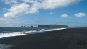 Dyrholaey, volcanic beach on the south coast of Iceland. stock video footage