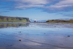 Cape Dyrholaey in Iceland. Dyrholaos lagoon close to Dyrholaey foreland located on the south coast of Iceland stock image
