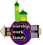 Dyrkan, arbete och familj stock illustrationer