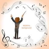 Dyrygent orkiestra magiczna muzyka ilustracja wektor