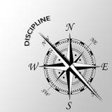 Dyscyplina słowo pisać na boku kompas Obrazy Royalty Free