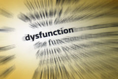 Dysfunction. 1: abnormality or impairment in the function of a specified bodily organ or system. 2: deviation from the norms of social behavior in a way stock photo