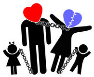 Dysfunctional Family Patterns. Concept sign of parents on the verge of divorce or separation affecting children Royalty Free Stock Photos