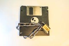 Dyskietka ochrania kędziorkiem z łańcuchem zdjęcia stock