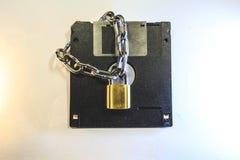 Dyskietka ochrania kędziorkiem z łańcuchem zdjęcia royalty free