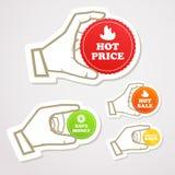 dyskontowa ręka przylepiać etykietkę zakupy Fotografia Stock
