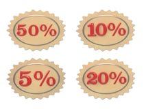 Dyskontowa rzemienna ilustracja z 10%, 5, 20, 50% Fotografia Royalty Free