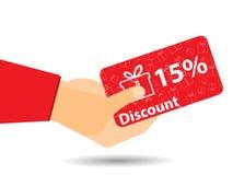 Dyskontowi talony w ręce 15-percent rabat Specjalna oferta Prezentów pudełka na tle Fotografia Royalty Free