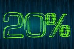 Dyskontowy pojęcie, 20 procentów świecąca inskrypcja, 3D rendering Obrazy Stock