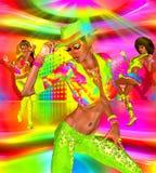 Dyskotek prywatka dziewczyny na kolorowym parkiecie tanecznym i tle royalty ilustracja