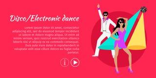 Dyskoteka i Elektroniczny taniec sieci sztandar wektor ilustracji