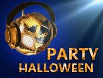 Dyskoteki Halloween balowa bania z hełmofonami strona błękitny Fotografia Stock