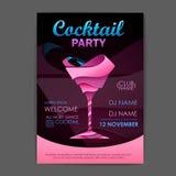 Dyskoteki przyjęcia koktajlowe plakat 3D koktajlu projekt royalty ilustracja