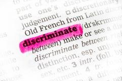 Dyskryminuje słownik definicję zdjęcia royalty free