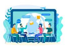 Dyskusja prądów zadania pracownikami w biurze z ilustracja wektor