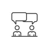 Dyskusja, spór kreskowa ikona, konturu wektoru znak, liniowy stylowy piktogram odizolowywający na bielu Symbol, logo ilustracja _ ilustracja wektor