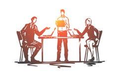 Dyskusja, spotkanie, biznes, ludzie, biurowy pojęcie Ręka rysujący odosobniony vect royalty ilustracja