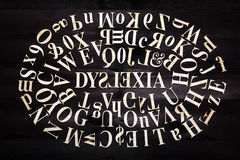 Dyslexia concept. ''Dyslexia'' word with wooden letters on dark background Stock Images
