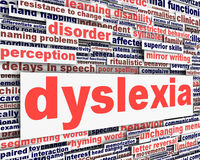Dyslexia disability message conceptual design. Learning disability symbol Stock Images