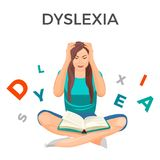 Dyslexia mental disorder conceptual vector illustration with woman. Having trouble with reading despite normal intelligence. Female unable to read book Royalty Free Stock Images