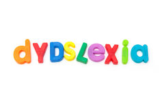 Dyslexia sign. Colorful letters misspelling the word dyslexia on a white background Stock Image