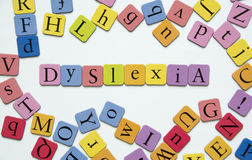 Dyslexia. Toy magnetic letters spelling the word Dyslexia Royalty Free Stock Image