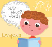Dyslexic boy with book. Child affected by dyslexia reading a book, digital illustration Stock Images