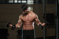 Dysponowana atleta Robi ćwiczeniu Dla bicepsów Obrazy Stock