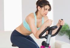 Dysponowana brunetka pracująca na ćwiczenie rowerze out Zdjęcie Royalty Free