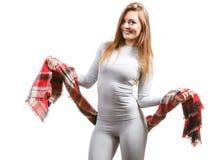 Dysponowana kobieta jest ubranym thermoactive bielizn? obrazy royalty free