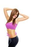 Dysponowana młoda kobieta z szczupłym podbrzusze diety pojęciem Obrazy Royalty Free