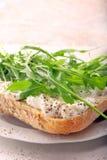 Dysponowana zdrowa kanapka z białym chałupa serem arugula i Obraz Royalty Free