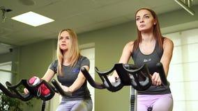 Dysponowane kobiety opracowywa na ćwiczenie rowerach przy gym zdjęcie wideo