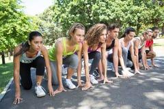 Dysponowani ludzie biega rasy w parku Obraz Royalty Free