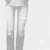 Dysponowany żeński ciało w niebieskich dżinsach, odizolowywających na białym tle Obraz Royalty Free