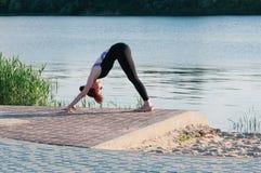 Dysponowany ?adny ?e?ski praktyki joga ?wiczenie outdoors zdjęcia stock