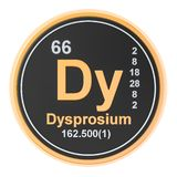 Dysprosium Dy chemical element. 3D rendering. Isolated on white background royalty free illustration