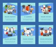 Dystansowa edukacja ustawiająca karty, sztandary Online kursy, webinar, wypytywać, nauczanie online, tutorials i wykłady wektorow ilustracji