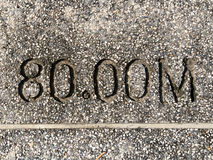 Dystansowa skala na footpath Fotografia Royalty Free