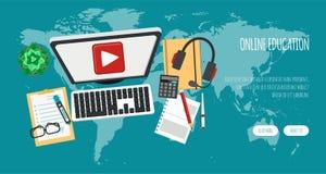 Dystansowej edukaci sztandar Online kursy, nauczanie online, tutorials pojęcia dla strony internetowej i wiszącej ozdoby strony i ilustracja wektor