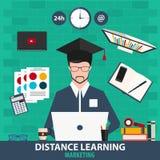 Dystansowy uczenie Online edukacja marketing również zwrócić corel ilustracji wektora Obraz Stock